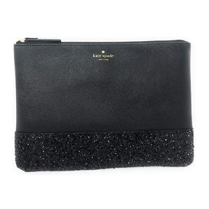 NWT Kate Spade Black Leather Glitter Pouch